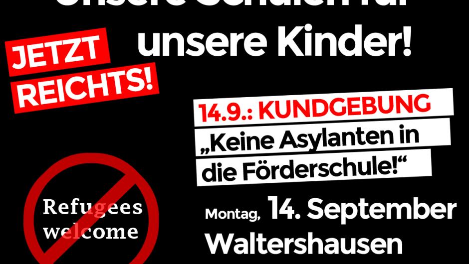 Schüler in Waltershausen müssen Asylanten weichen – Kundgebung am 14.9.